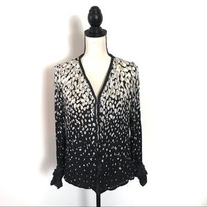 ETCETERA WOMEN'S SILK BLOUSE WITH LEATHER CUFFS